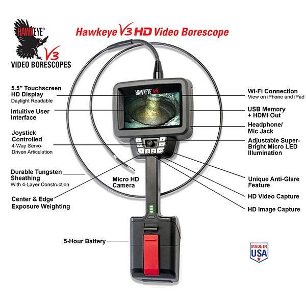 Hawkeye V3 HD Video Borescope